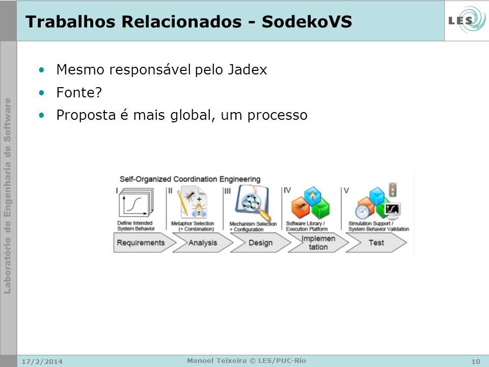 17/2/201410 Manoel Teixeira © LES/PUC-Rio Trabalhos Relacionados - SodekoVS Mesmo responsável pelo Jadex Fonte? Proposta é mais global, um processo