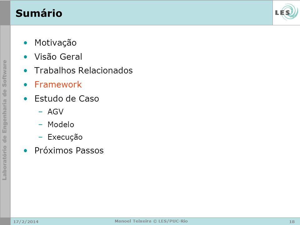 17/2/201418 Manoel Teixeira © LES/PUC-Rio Sumário Motivação Visão Geral Trabalhos Relacionados Framework Estudo de Caso –AGV –Modelo –Execução Próximo