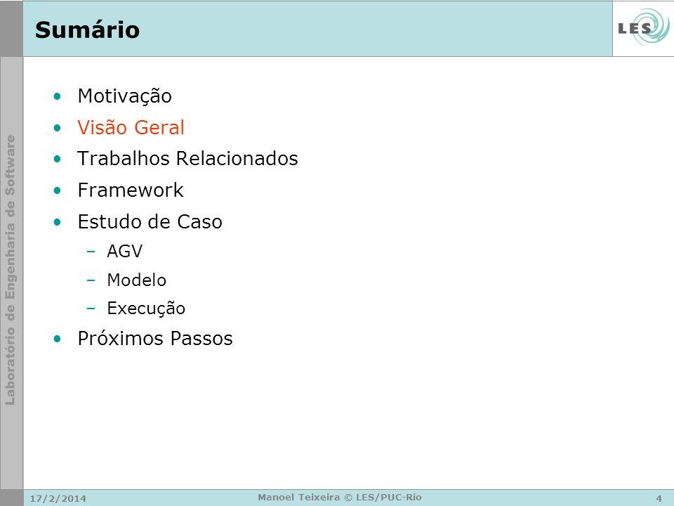 17/2/20144 Manoel Teixeira © LES/PUC-Rio Sumário Motivação Visão Geral Trabalhos Relacionados Framework Estudo de Caso –AGV –Modelo –Execução Próximos