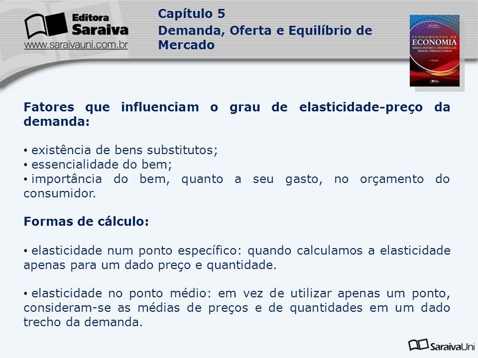 Capítulo 5 Demanda, Oferta e Equilíbrio de Mercado Fatores que influenciam o grau de elasticidade-preço da demanda: existência de bens substitutos; es