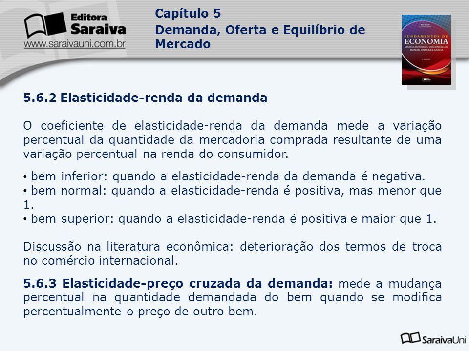 Capítulo 5 Demanda, Oferta e Equilíbrio de Mercado 5.6.2 Elasticidade-renda da demanda O coeficiente de elasticidade-renda da demanda mede a variação