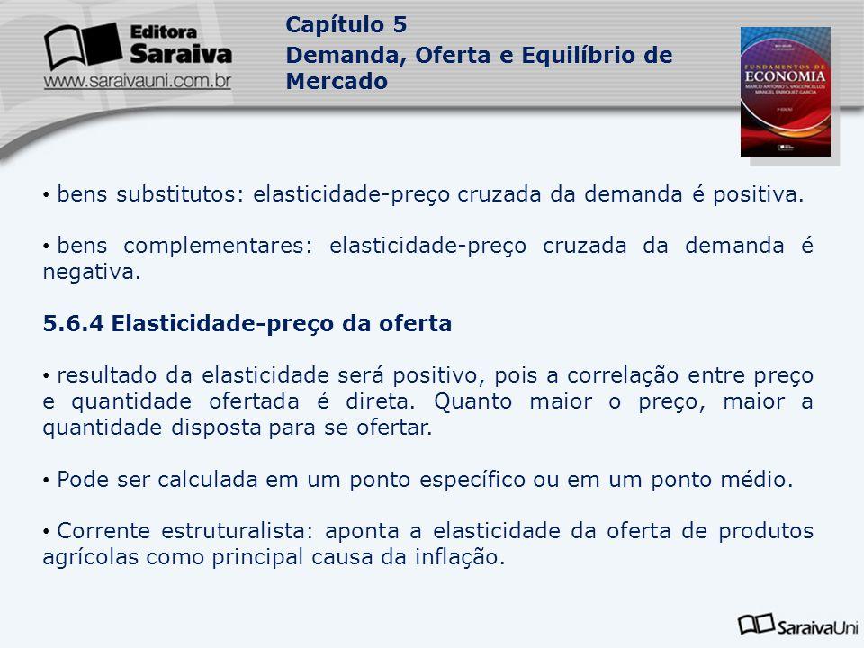 Capítulo 5 Demanda, Oferta e Equilíbrio de Mercado bens substitutos: elasticidade-preço cruzada da demanda é positiva. bens complementares: elasticida