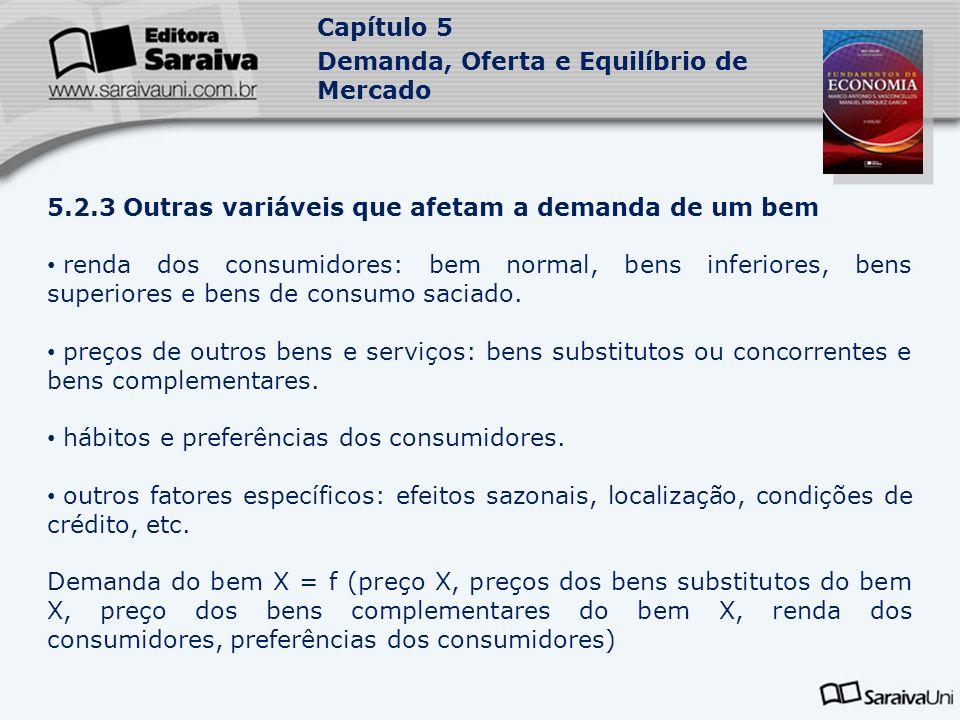 Capítulo 5 Demanda, Oferta e Equilíbrio de Mercado 5.2.3 Outras variáveis que afetam a demanda de um bem renda dos consumidores: bem normal, bens infe