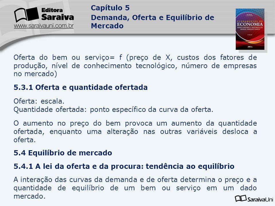 Capítulo 5 Demanda, Oferta e Equilíbrio de Mercado Oferta do bem ou serviço= f (preço de X, custos dos fatores de produção, nível de conhecimento tecn