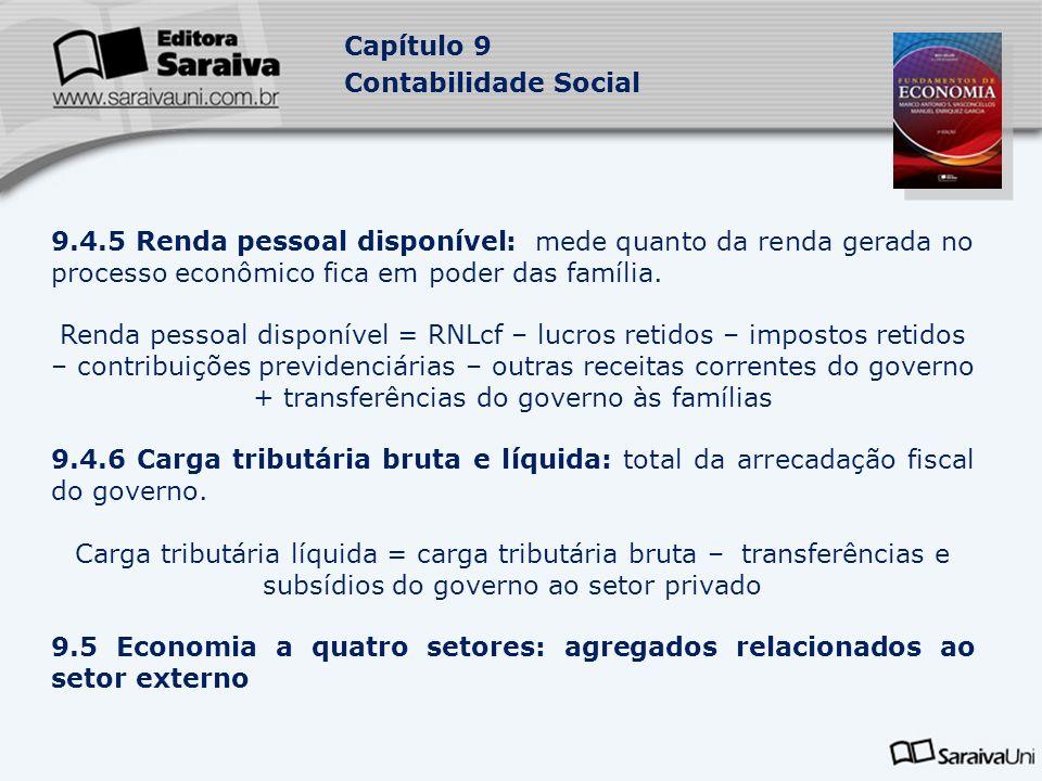 Capítulo 9 Contabilidade Social 9.4.5 Renda pessoal disponível: mede quanto da renda gerada no processo econômico fica em poder das família. Renda pes