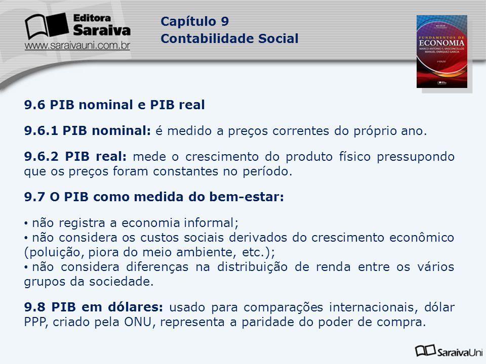 Capítulo 9 Contabilidade Social 9.6 PIB nominal e PIB real 9.6.1 PIB nominal: é medido a preços correntes do próprio ano. 9.6.2 PIB real: mede o cresc