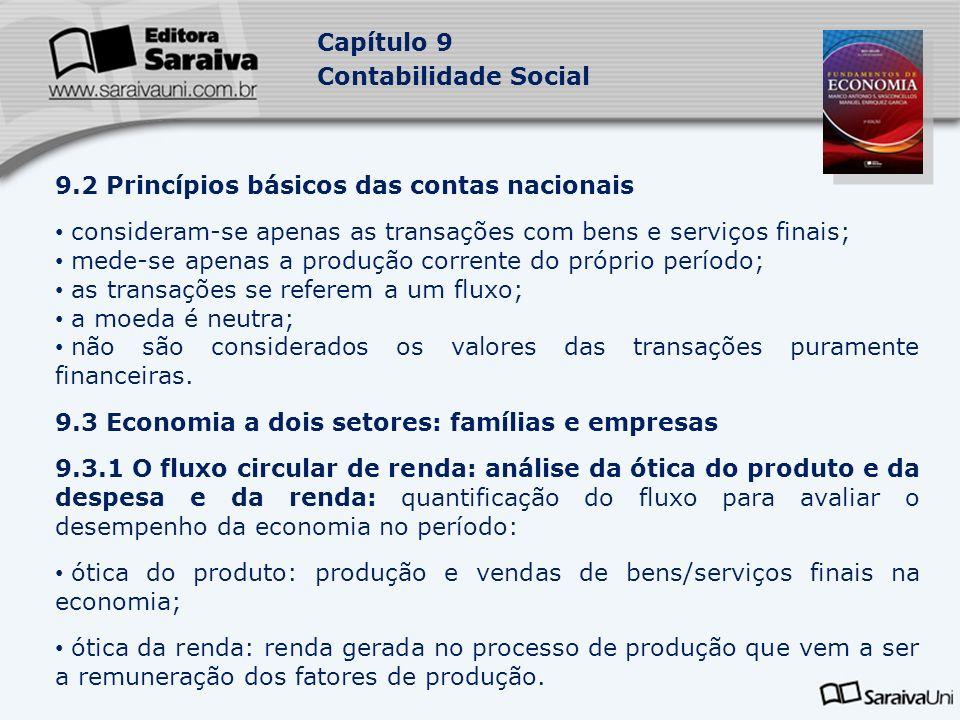 Capítulo 9 Contabilidade Social 9.2 Princípios básicos das contas nacionais consideram-se apenas as transações com bens e serviços finais; mede-se ape