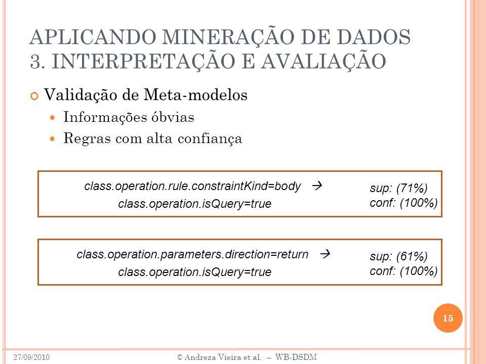 APLICANDO MINERAÇÃO DE DADOS 3. INTERPRETAÇÃO E AVALIAÇÃO Validação de Meta-modelos Informações óbvias Regras com alta confiança 15 27/09/2010 © A ndr