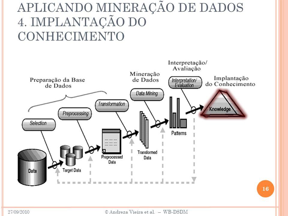 APLICANDO MINERAÇÃO DE DADOS 4. IMPLANTAÇÃO DO CONHECIMENTO 16 27/09/2010 © A ndreza Vieira et al. – WB-DSDM