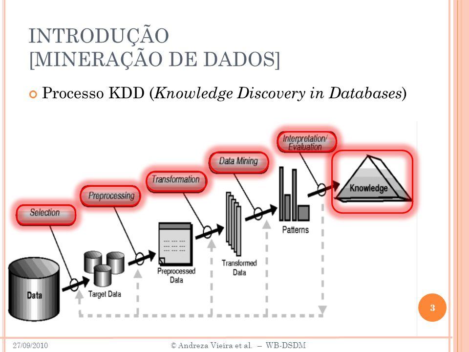 INTRODUÇÃO [MINERAÇÃO DE DADOS] 3 Processo KDD ( Knowledge Discovery in Databases ) 27/09/2010 © A ndreza Vieira et al. – WB-DSDM