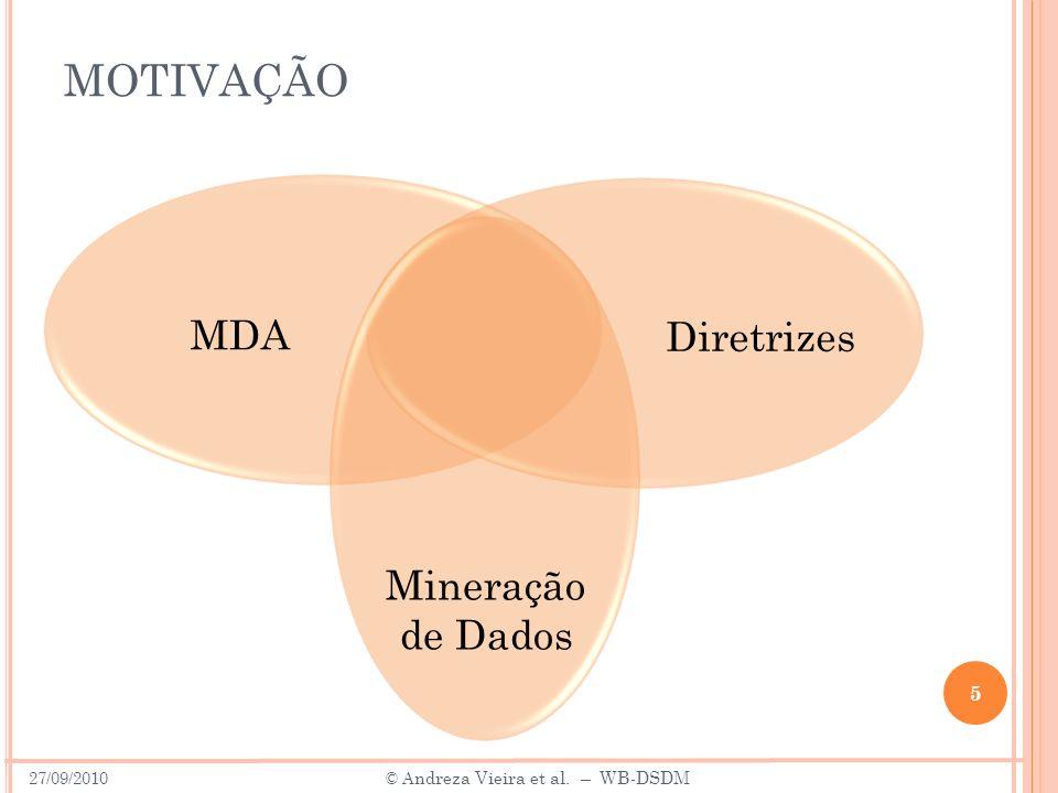 MOTIVAÇÃO 5 Diretrizes MDA Mineração de Dados 27/09/2010 © A ndreza Vieira et al. – WB-DSDM