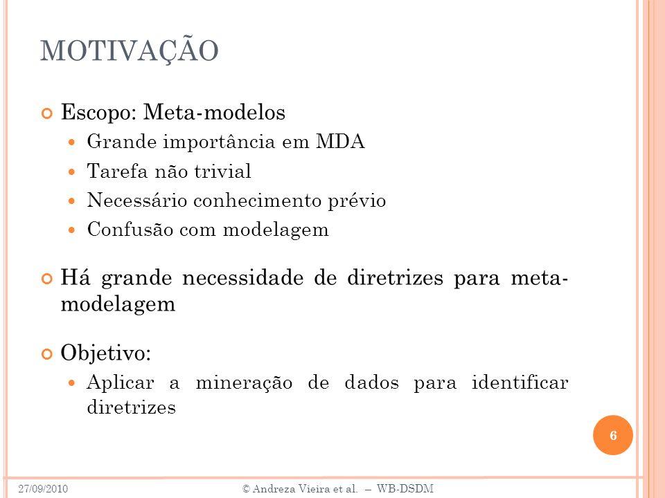MOTIVAÇÃO Escopo: Meta-modelos Grande importância em MDA Tarefa não trivial Necessário conhecimento prévio Confusão com modelagem Há grande necessidad