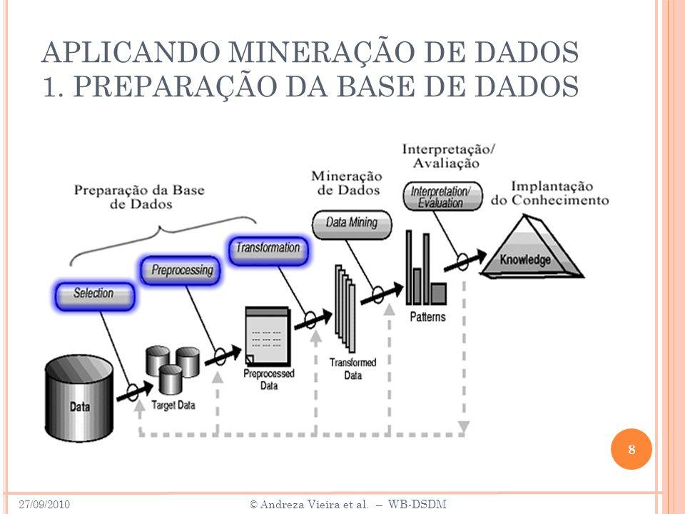 APLICANDO MINERAÇÃO DE DADOS 1. PREPARAÇÃO DA BASE DE DADOS 8 27/09/2010 © A ndreza Vieira et al. – WB-DSDM