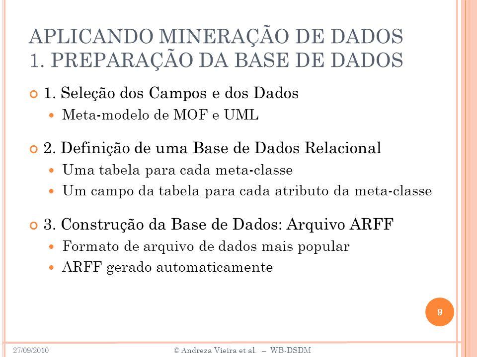 APLICANDO MINERAÇÃO DE DADOS 1. PREPARAÇÃO DA BASE DE DADOS 1. Seleção dos Campos e dos Dados Meta-modelo de MOF e UML 2. Definição de uma Base de Dad