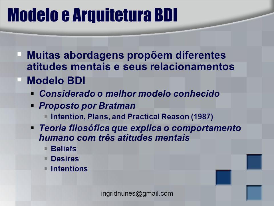 ingridnunes@gmail.com Modelo e Arquitetura BDI Muitas abordagens propõem diferentes atitudes mentais e seus relacionamentos Modelo BDI Considerado o m