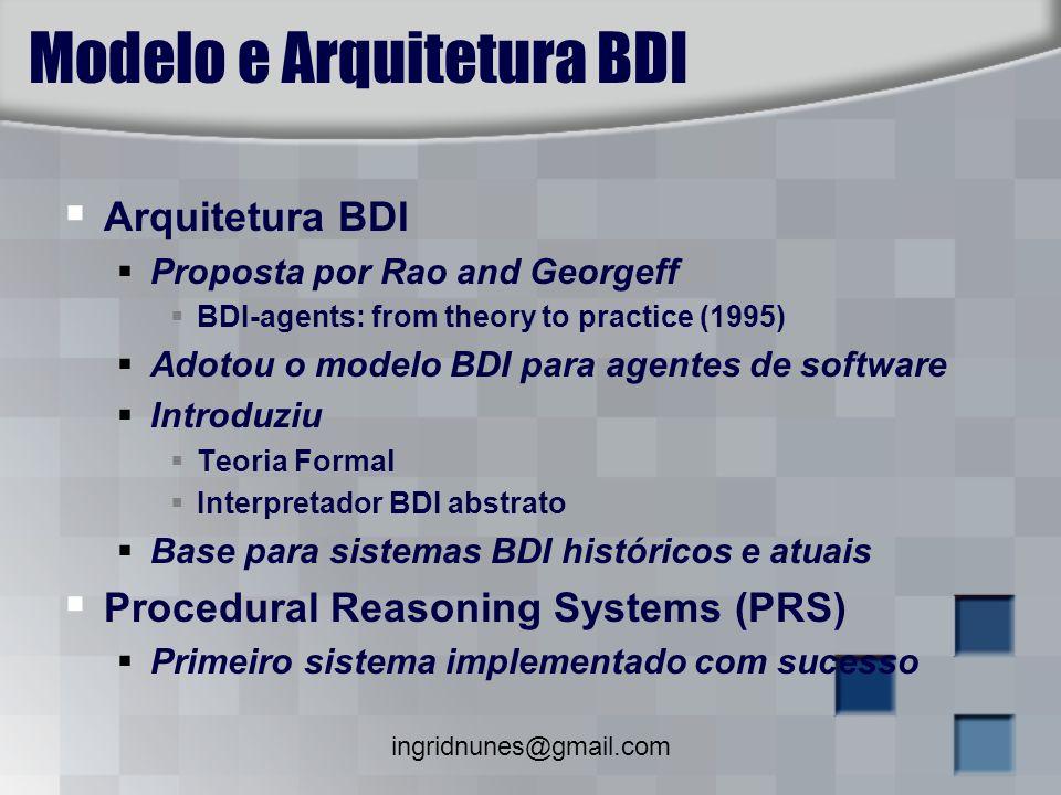 ingridnunes@gmail.com Modelo e Arquitetura BDI Arquitetura BDI Proposta por Rao and Georgeff BDI-agents: from theory to practice (1995) Adotou o model