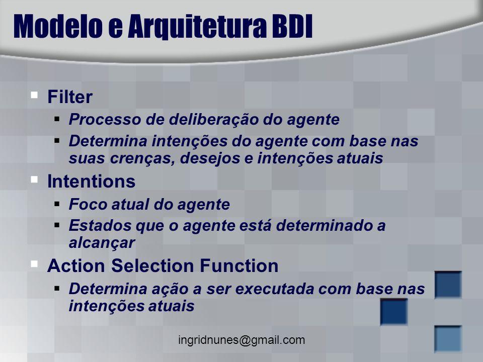 ingridnunes@gmail.com Modelo e Arquitetura BDI Filter Processo de deliberação do agente Determina intenções do agente com base nas suas crenças, desej
