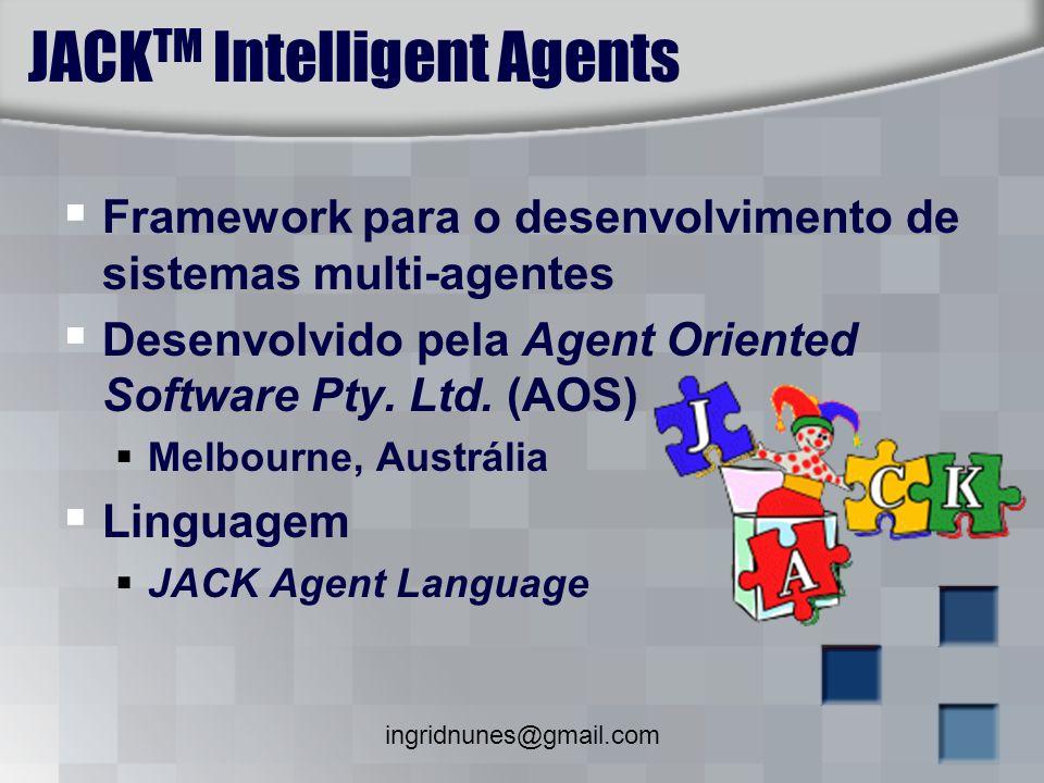 ingridnunes@gmail.com JACK TM Intelligent Agents Framework para o desenvolvimento de sistemas multi-agentes Desenvolvido pela Agent Oriented Software