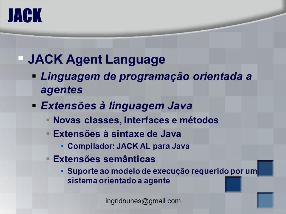 ingridnunes@gmail.com JACK JACK Agent Language Linguagem de programação orientada a agentes Extensões à linguagem Java Novas classes, interfaces e mét