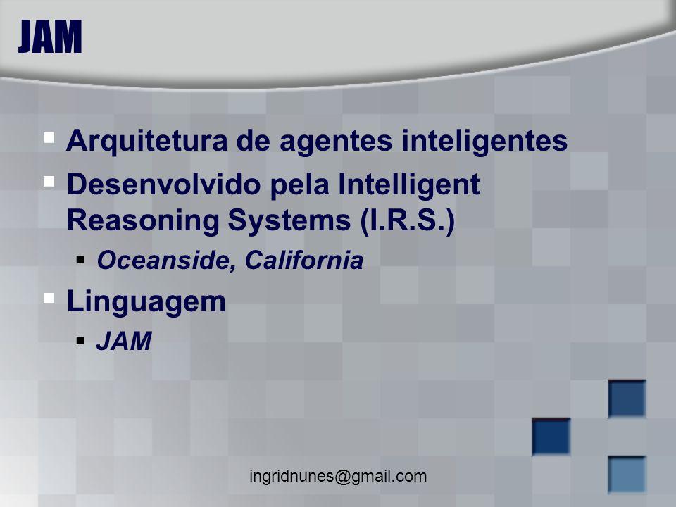 ingridnunes@gmail.com JAM Arquitetura de agentes inteligentes Desenvolvido pela Intelligent Reasoning Systems (I.R.S.) Oceanside, California Linguagem