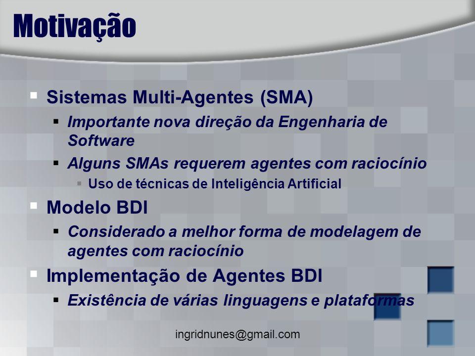 ingridnunes@gmail.com Motivação Sistemas Multi-Agentes (SMA) Importante nova direção da Engenharia de Software Alguns SMAs requerem agentes com racioc