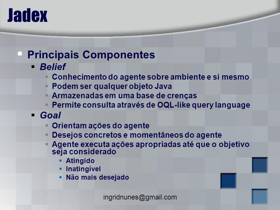 ingridnunes@gmail.com Jadex Principais Componentes Belief Conhecimento do agente sobre ambiente e si mesmo Podem ser qualquer objeto Java Armazenadas