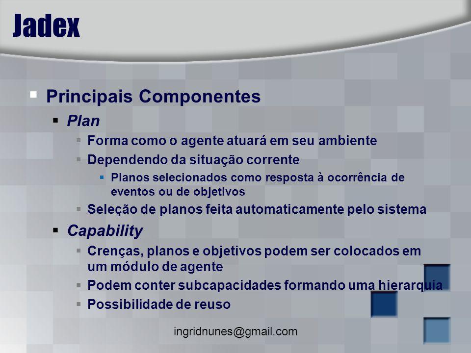 ingridnunes@gmail.com Jadex Principais Componentes Plan Forma como o agente atuará em seu ambiente Dependendo da situação corrente Planos selecionados