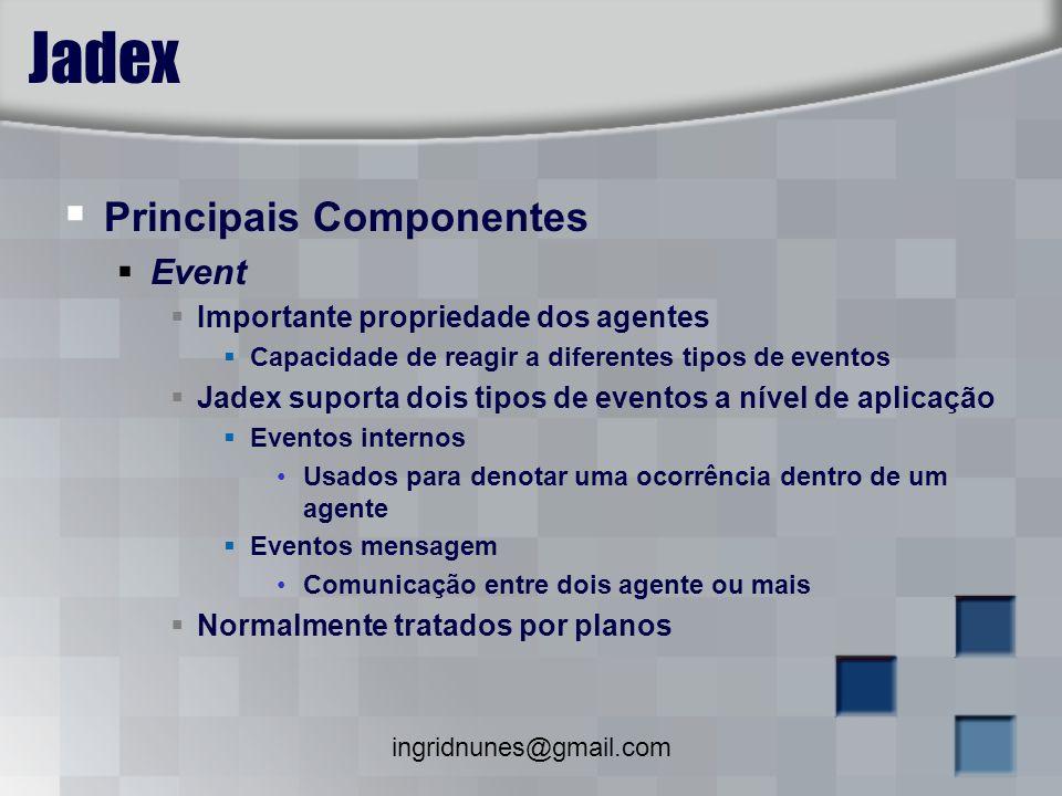ingridnunes@gmail.com Jadex Principais Componentes Event Importante propriedade dos agentes Capacidade de reagir a diferentes tipos de eventos Jadex s