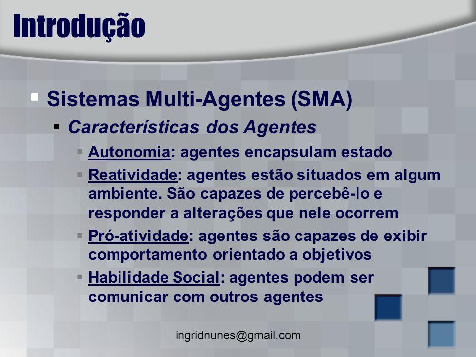 ingridnunes@gmail.com Introdução Sistemas Multi-Agentes (SMA) Características dos Agentes Autonomia: agentes encapsulam estado Reatividade: agentes es