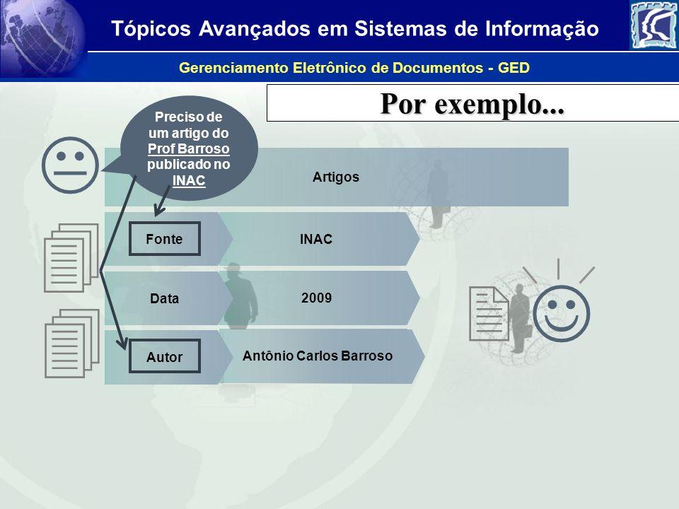 Tópicos Avançados em Sistemas de Informação Gerenciamento Eletrônico de Documentos - GED Por exemplo... Antônio Carlos Barroso INAC 2009 Artigos Fonte