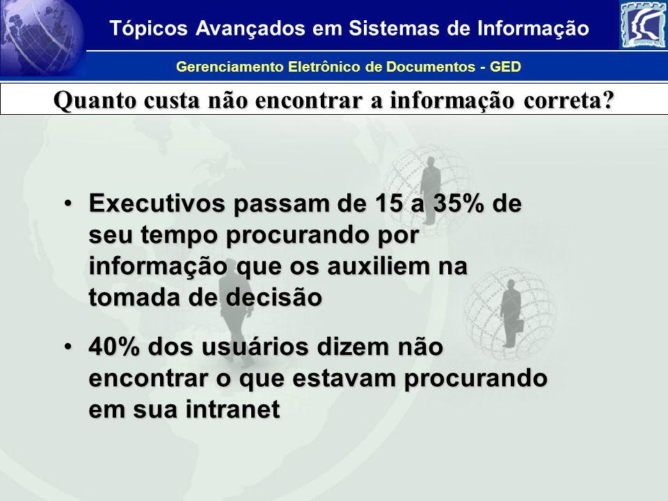 Tópicos Avançados em Sistemas de Informação Gerenciamento Eletrônico de Documentos - GED Quanto custa não encontrar a informação correta? Executivos p