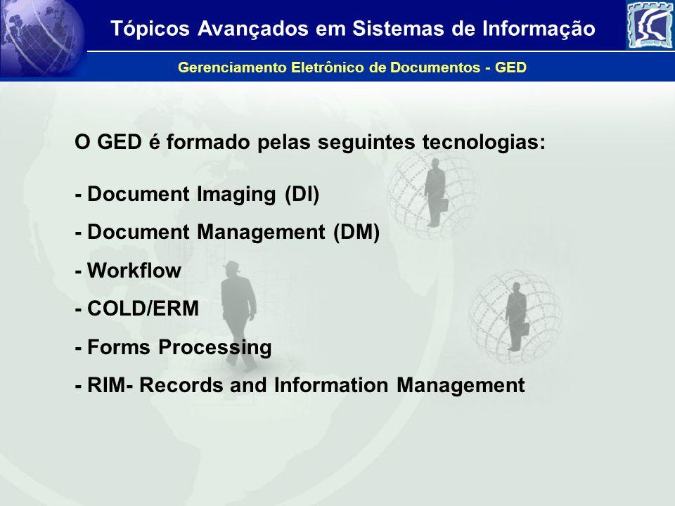 Tópicos Avançados em Sistemas de Informação Gerenciamento Eletrônico de Documentos - GED O GED é formado pelas seguintes tecnologias: - Document Imagi