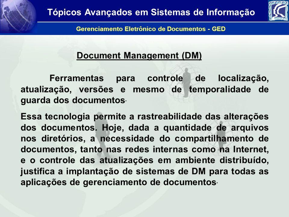 Tópicos Avançados em Sistemas de Informação Gerenciamento Eletrônico de Documentos - GED Document Management (DM) Ferramentas para controle de localiz