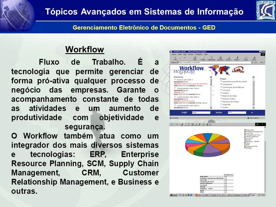 Tópicos Avançados em Sistemas de Informação Gerenciamento Eletrônico de Documentos - GED Workflow Fluxo de Trabalho. É a tecnologia que permite gerenc