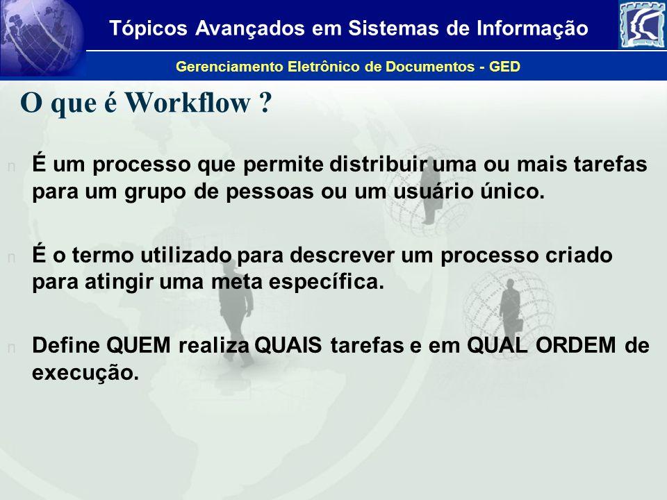 Tópicos Avançados em Sistemas de Informação Gerenciamento Eletrônico de Documentos - GED O que é Workflow ? n É um processo que permite distribuir uma