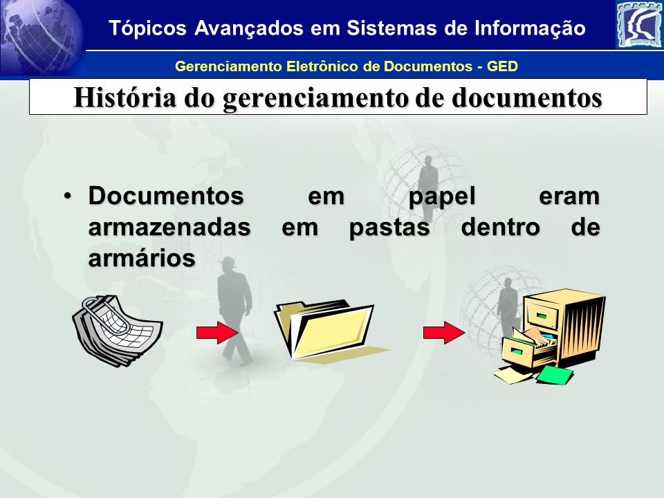 Tópicos Avançados em Sistemas de Informação Gerenciamento Eletrônico de Documentos - GED História do gerenciamento de documentos Processadores de textoProcessadores de texto Armazenamento digital em discos individuais e isoladosArmazenamento digital em discos individuais e isolados