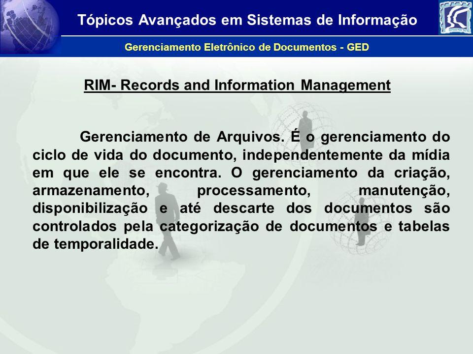 Tópicos Avançados em Sistemas de Informação Gerenciamento Eletrônico de Documentos - GED RIM- Records and Information Management Gerenciamento de Arqu