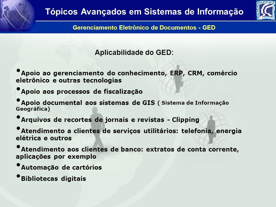 Tópicos Avançados em Sistemas de Informação Gerenciamento Eletrônico de Documentos - GED Aplicabilidade do GED: Apoio ao gerenciamento do conhecimento