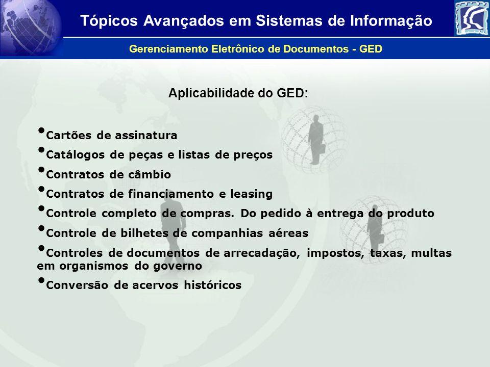 Tópicos Avançados em Sistemas de Informação Gerenciamento Eletrônico de Documentos - GED Aplicabilidade do GED: Cartões de assinatura Catálogos de peç