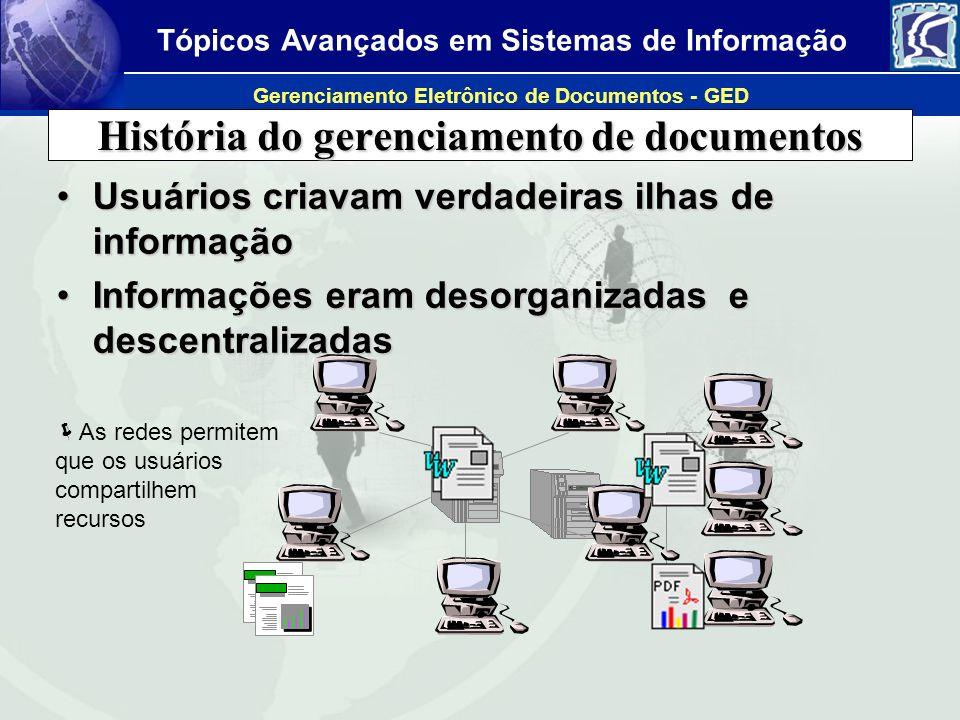 Tópicos Avançados em Sistemas de Informação Gerenciamento Eletrônico de Documentos - GED Problemas Informação inacessível ou de difícil localizaçãoInformação inacessível ou de difícil localização Informação desconectada de processosInformação desconectada de processos Incompatibilidades de diferentes plataformasIncompatibilidades de diferentes plataformas Os documentos sofrem alterações, que não são divulgadasOs documentos sofrem alterações, que não são divulgadas –Conseqüência: uso indevido de informações desatualizadas