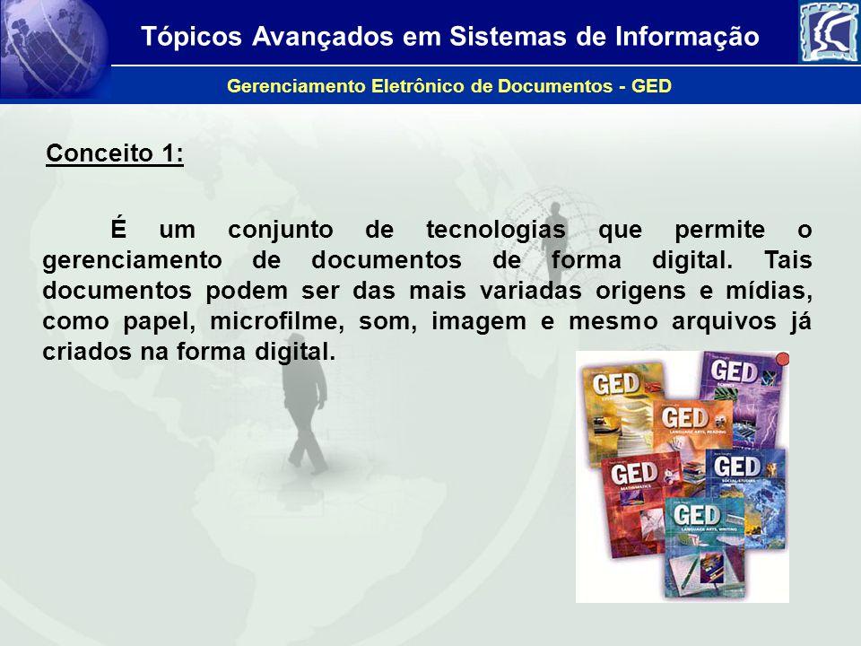 Tópicos Avançados em Sistemas de Informação Gerenciamento Eletrônico de Documentos - GED É um grupo de tecnologias, divididas em cinco funcionalidades básicas: captação, gerenciamento, armazenamento, distribuição e preservação.