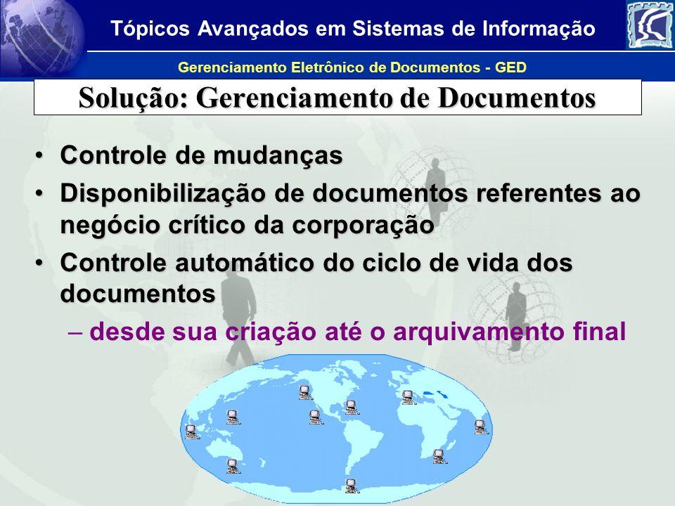 Tópicos Avançados em Sistemas de Informação Gerenciamento Eletrônico de Documentos - GED Permite a recuperação da empresa após desastres, como o caso do World Trade Center, EUA, em setembro de 2001.