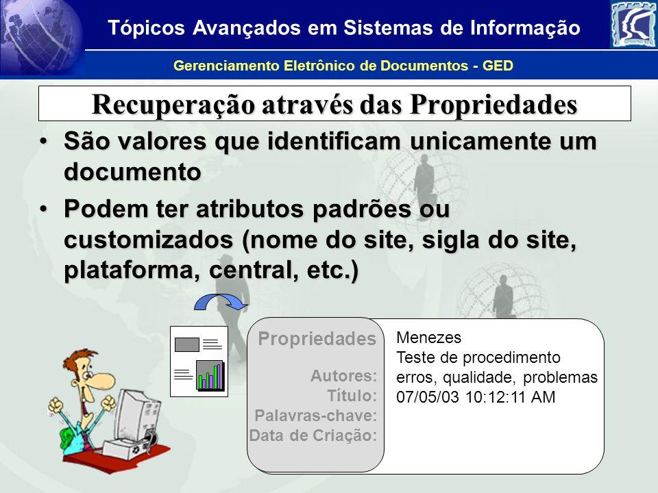 Tópicos Avançados em Sistemas de Informação Gerenciamento Eletrônico de Documentos - GED Recuperação através das Propriedades São valores que identifi