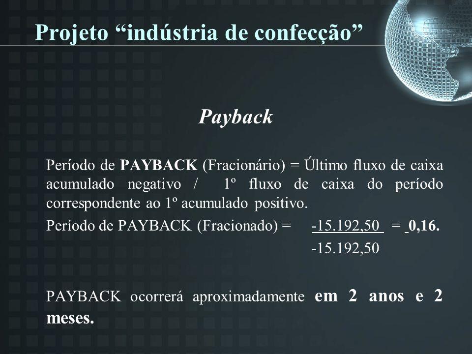 Projeto indústria de confecção Payback Período de PAYBACK (Fracionário) = Último fluxo de caixa acumulado negativo / 1º fluxo de caixa do período correspondente ao 1º acumulado positivo.