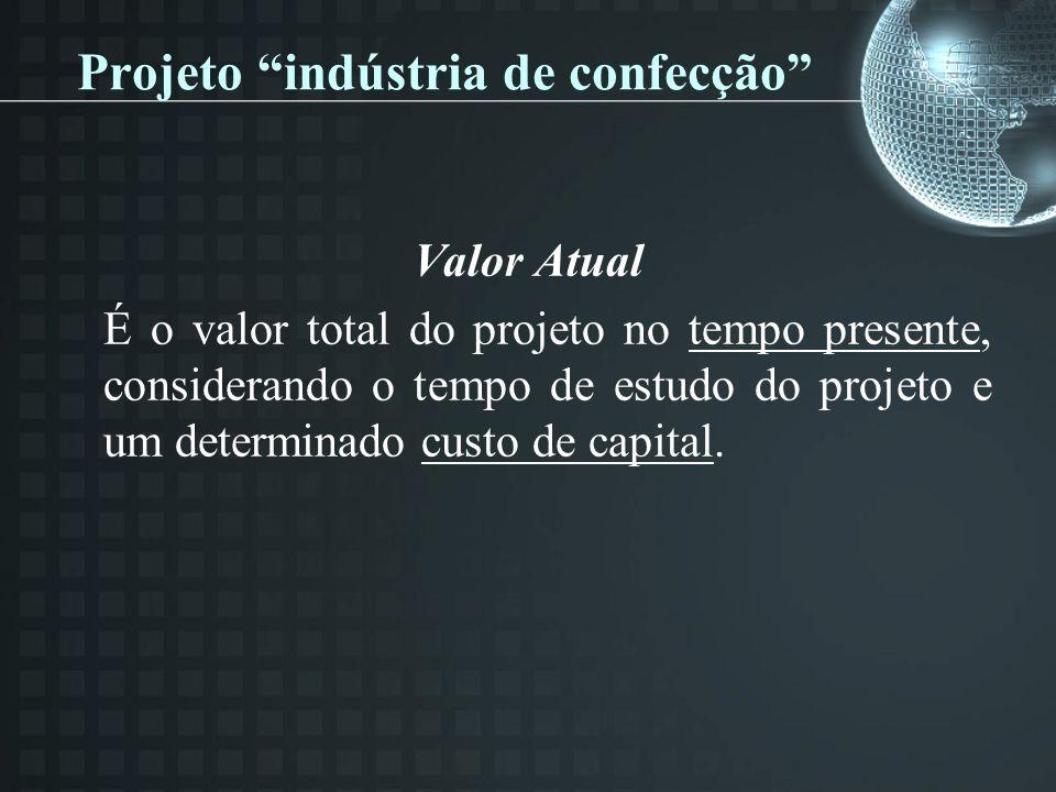 Projeto indústria de confecção Valor Atual É o valor total do projeto no tempo presente, considerando o tempo de estudo do projeto e um determinado custo de capital.