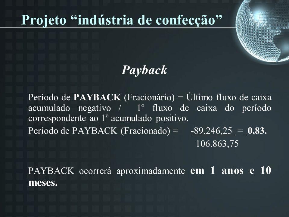 Payback Período de PAYBACK (Fracionário) = Último fluxo de caixa acumulado negativo / 1º fluxo de caixa do período correspondente ao 1º acumulado positivo.