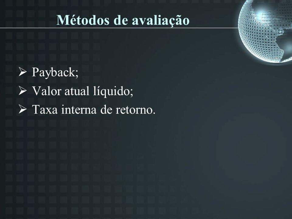 Métodos de avaliação Payback; Valor atual líquido; Taxa interna de retorno.
