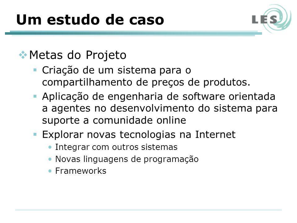 Um estudo de caso Metas do Projeto Criação de um sistema para o compartilhamento de preços de produtos.