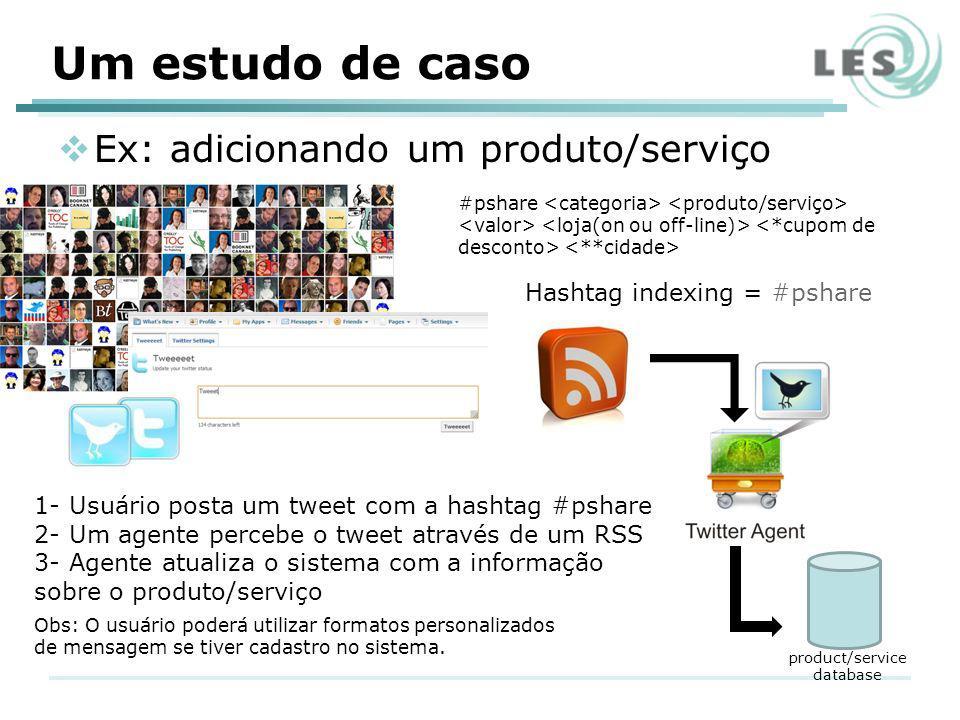 Ex: adicionando um produto/serviço product/service database #pshare Hashtag indexing = #pshare 1- Usuário posta um tweet com a hashtag #pshare 2- Um a