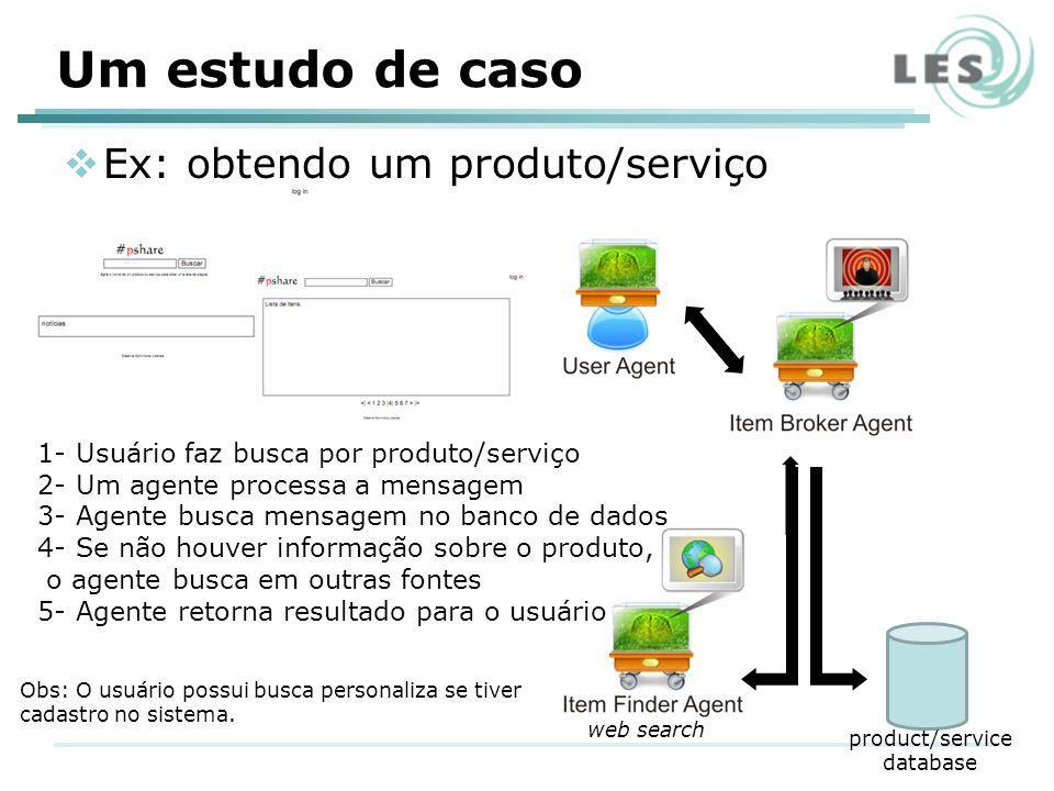 Um estudo de caso Ex: obtendo um produto/serviço web search 1- Usuário faz busca por produto/serviço 2- Um agente processa a mensagem 3- Agente busca